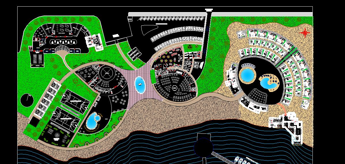 نقشه اتوکد پارک ساحلی / نمونه خارجی
